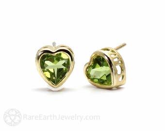 Gemstone Heart Earrings Heart Earrings Birthstone Earrings 14K Gold Studs Peridot Earrings Amethyst Citrine Garnet Blue Topaz Post Earrings