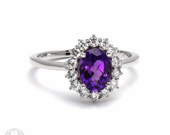 Amethyst Ring with Diamonds Purple Gemstone February Birthstone 14K or 18K White Yellow Rose Gold