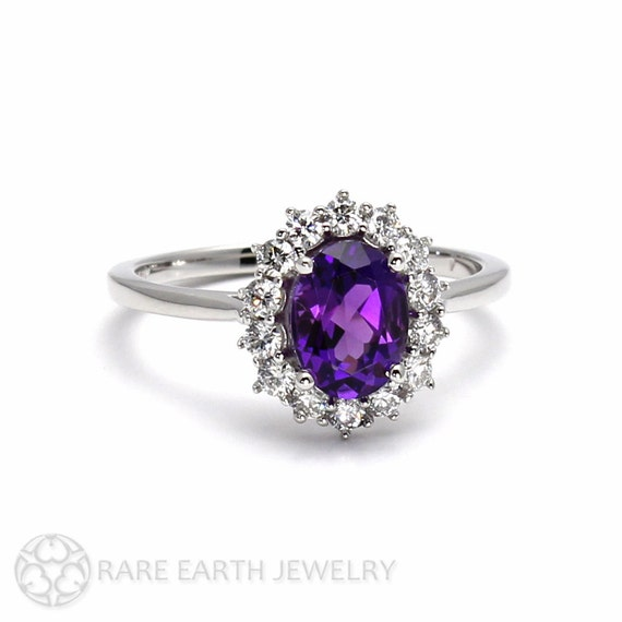 Solitaire engagement ring N404 oval cut Oval amethyst ring sterling silver Purple amethyst ring