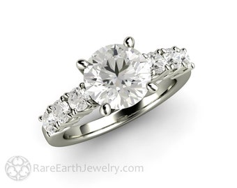 2 Carat Forever One Moissanite Engagement Ring Round Cut Colorless Accented Solitaire Four Prong Solitare 14K 18K Gold or Platinum