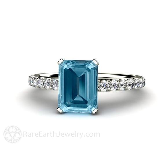 Aquamarin Verlobungsring Diamanten Aquamarin Ring 14k Oder 18k Etsy