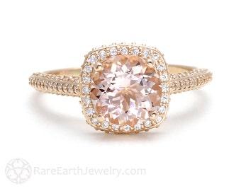Morganite Engagement Ring 18K Rose Gold Diamond Halo Morganite Ring Unique Engagement Pink Gemstone Ring
