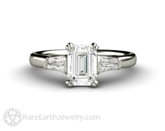 1ct Emerald Cut Diamond Engagement Ring 3 Stone with Tapered Baguettes GIA Certified Three Stone Diamond Ring in 14K 18K Gold and Platinum