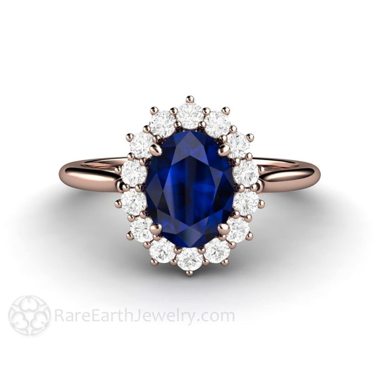 be21daec0a5fd Blue Sapphire Engagement Ring Sapphire Ring Diamond Halo Oval Cluster  September Birthstone Blue Gemstone Ring Princess Diana Ring