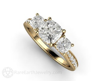 Cushion Cut Moissanite Engagement Ring 3 Stone Moissanite Ring Charles and Colvard Forever One Three Stone Ring
