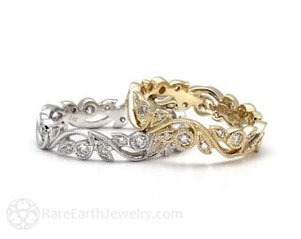 Vintage Style Diamond Eternity Band Diamond Wedding Ring with Milgrain and Filigree Leaf Design 14K 18K White Yellow or Rose Gold Platinum
