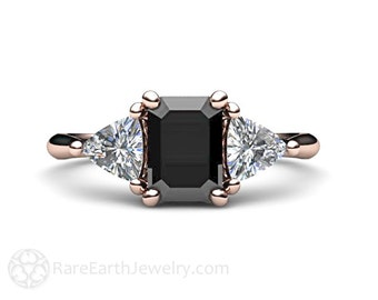 Black Diamond Engagement Ring Emerald Cut Three Stone Vintage Style 3 Stone Ring 14K or 18K Gold Platinum with Trillion Diamonds