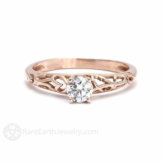 Diamond Solitaire Engagement Ring Filigree Diamond Engagement Etsy