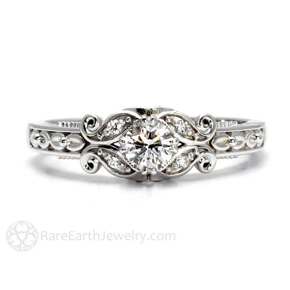 Diamant Verlobungsring Vintage Stil Ring Mit Filigran Milgrain Etsy
