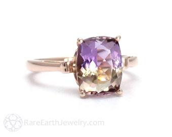 Fleur de Lis Ametrine Ring Cushion Cut Gemstone Ring in 14K or 18K White Yellow Rose Gold Purple Yellow Gemstone Ring
