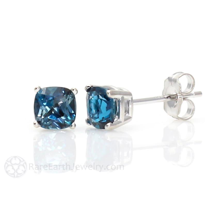 4c180447bd7a 14K London Blue Topaz Earrings 5mm 6mm or 8mm Studs Cushion
