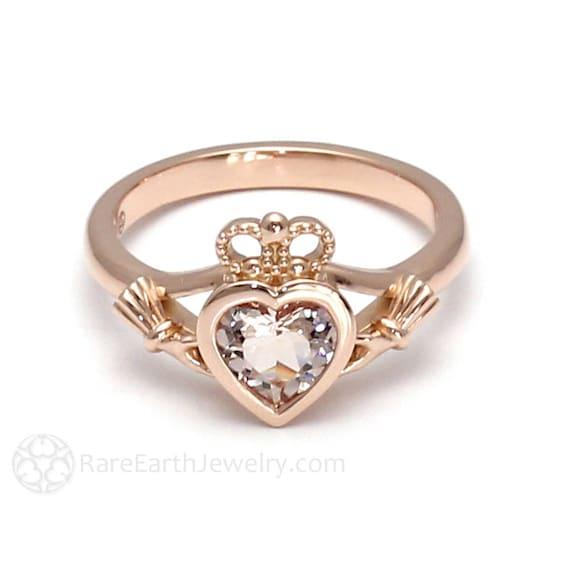 ROSETONE Sterling Silver irlandais Claddagh ring .75 ct rose simuler Morganite Zircone Cubique