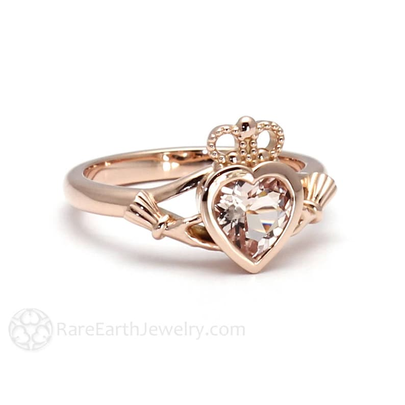 d4982ad9366c9 Claddagh Ring Celtic Jewelry Morganite Engagement Ring Irish Promise Ring  Jewelry from Ireland in 14K or 18K Gold and Platinum