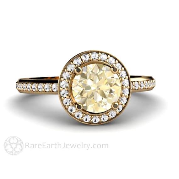 14k Lemon Quarz Ring Diamant Halo Verlobungsring Lemon Citrin Etsy