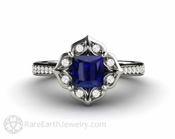 Princess Blue Sapphire Engagement Ring Square Vintage Halo with Diamonds September Birthstone