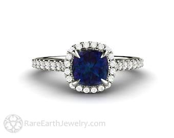 Alexandrite Ring Petite Pave Diamond Halo Alexandrite Engagement Ring Cushion Cut Skinny Thin Band June Birthstone Jewelry