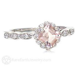 Morganite Ring Asscher Cut Morganite Engagement Ring Diamond Halo Unique Handmade Engagement Ring Pink Stone Ring