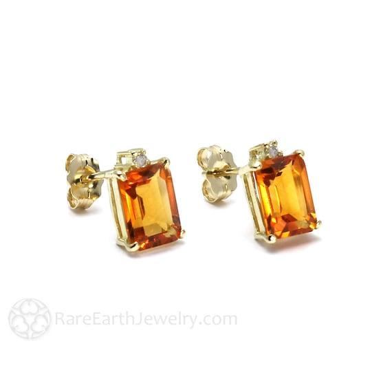 14k White Gold 6x4mm Citrine Earrings November