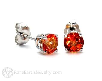 14K Orange Topaz Earrings Topaz Stud Earrings Post Earrings
