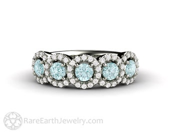 Natural Aquamarine Ring with Diamond Halo March Birthstone Anniversary Band or Wedding Ring 14K or 18K Gold Platinum