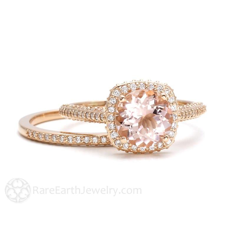 392170835630 Morganite Bridal Set 18K Rose Gold Morganite Engagement Ring