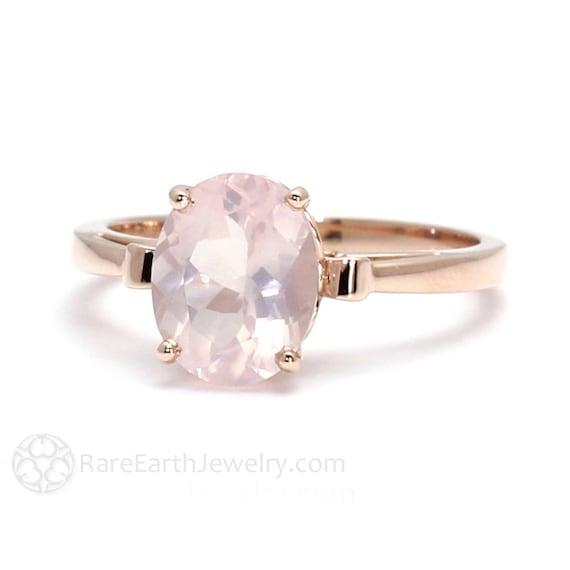 Rose Gold Ring Rose Quartz Ring Fleur de Lis Ring 14K or 18K   Etsy