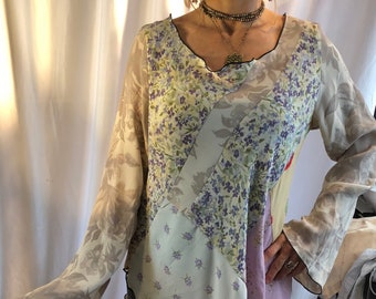 VINTAGE RAYON patchwork TUNIC w flutter sleeves