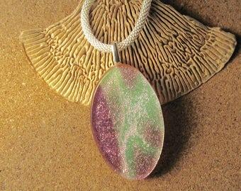 Pink Dichroic Pendant - Fused Glass Pendant - Dichroic Jewelry - Dichroic Necklace - Fused Glass Jewelry - Fused Glass Necklace - Glass