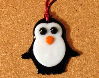 Fused Glass Penguin - Glass Penguin - Penguin Ornament - Fused Glass Ornament - Fused Glass Holiday Decor