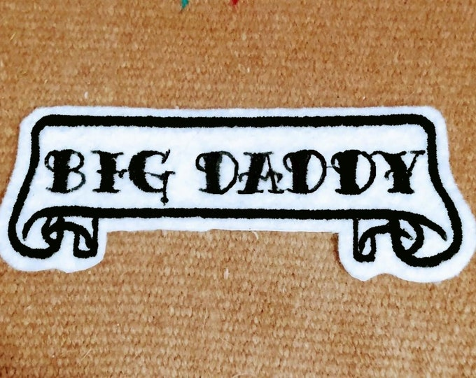 Tattoo Name Patch scroll banner white felt with black stitching