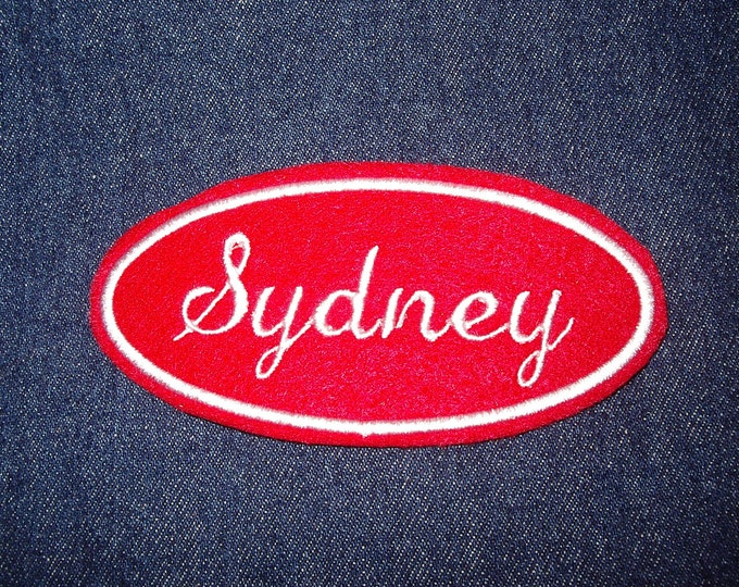 Oval Name Patch - red and white embroidery