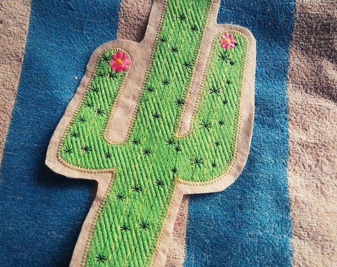 12 inch cactus iron on patch