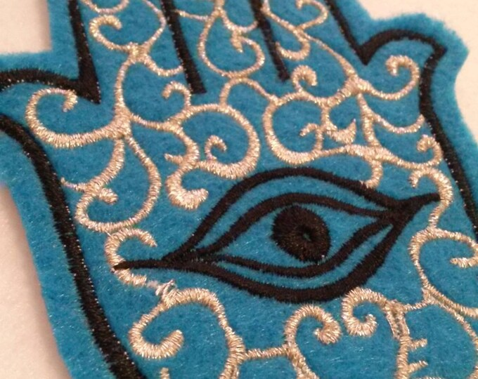 Hamsa, Chamsa, khamsa embroidered iron on patch turquoise and black