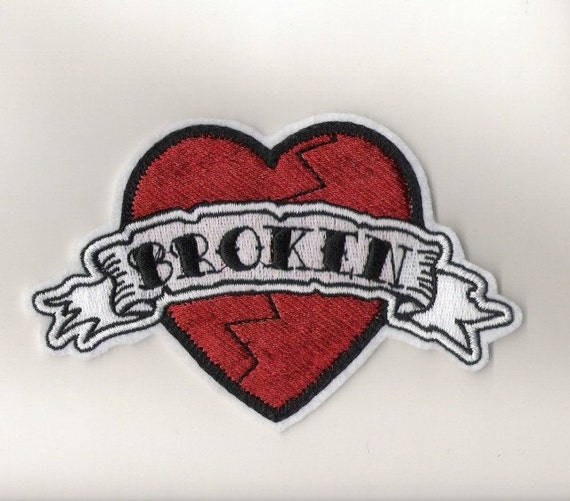 Tattoo style Broken Heart Iron on Patch or personalized