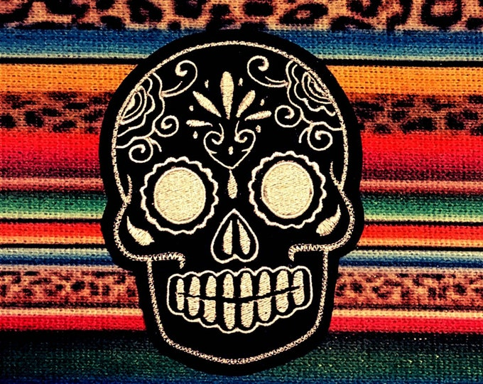 Day of the Dead, Sugar Skull EMBROIDERED patch '12'