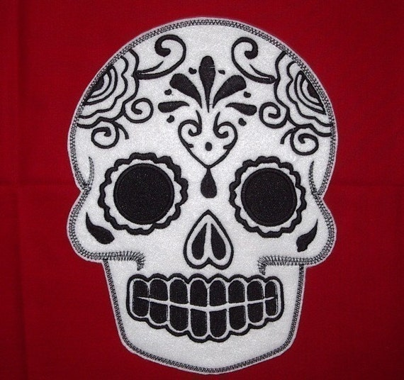 Mexican Day of the Dead Sugar Skull Patch Embroidery black and limeSugar Skull, Day of the Dead, embroidery