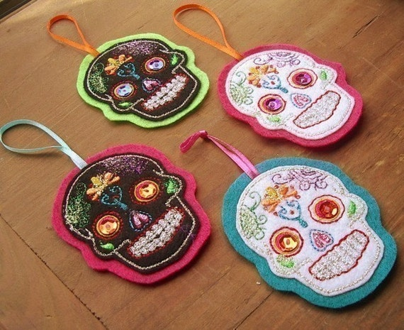Sugarskull Day of the Dead  Tree Ornament Set of 4