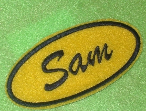 Oval Name Patch - Yellow with navy embroidery