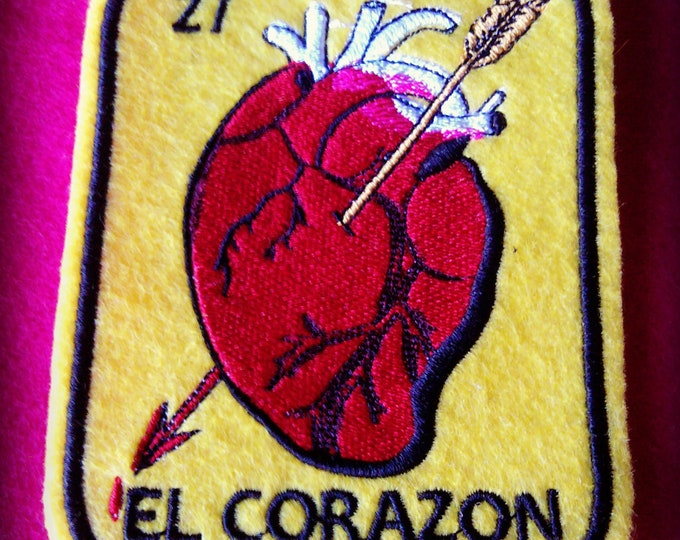 Corazon Loteria Patch Heart Iron On