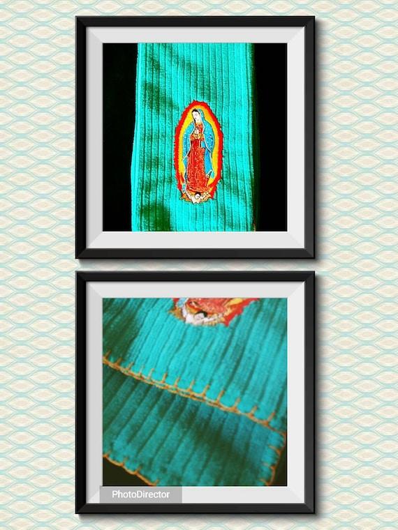 Virgen de Guadalupe dish towel  mexican folkart