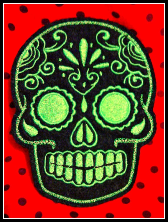Mexican Day of the Dead Sugar Skull Patch Embroidery black and limeMexican Day of the Dead Sugar Skull Patch Embroidery black and lime