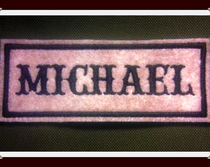 Embroidered  felt  Name Patch tan felt with black stitching