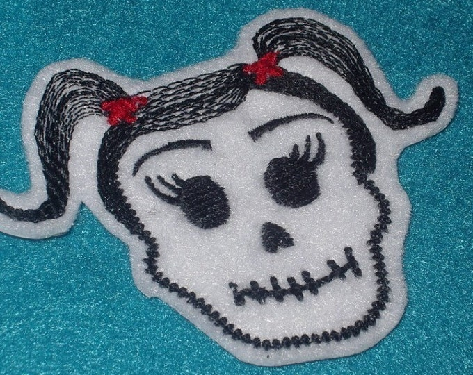 Mexican Day of the Dead Sugar Skull Patch Embroidery black and limeMini   -La Nina-  Skull Patch Day of the Dead