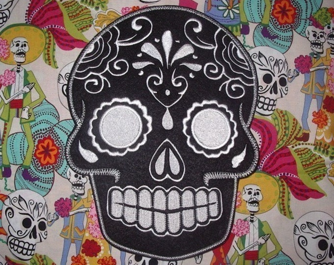 Sugar Skull, Day of the Dead, embroidery patch