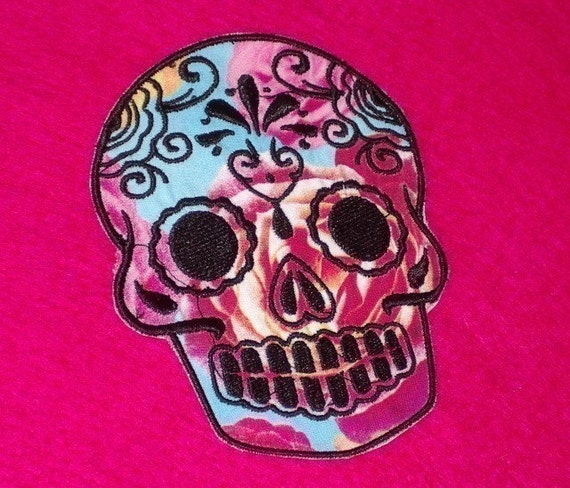 Mexican Day of the Dead Sugar Skull Patch Embroidery black and limeDay of the Dead, Sugar Skull EMBROIDERED patch 4 roses