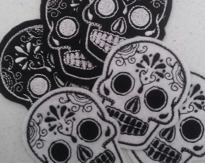 Mini Mexican Sugar Skull embroidery 6 piece patch set black and white felt 2inX3in