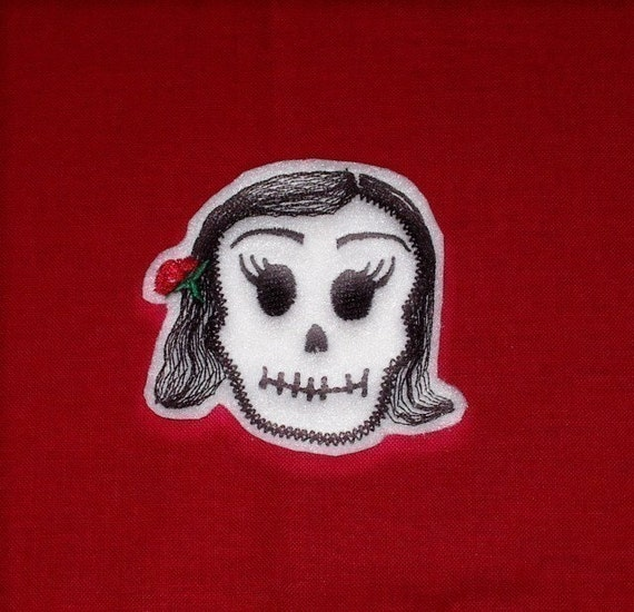 Mini  La Bonita Skull Patch Day of the Dead