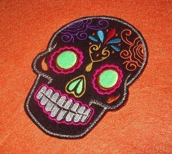 Day of the Dead, Sugar Skull Embroidery Patch green eyes