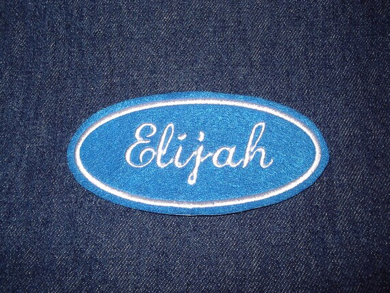 Oval Name Patch -blue with white embroidery
