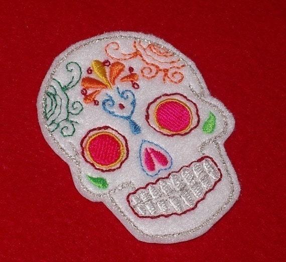 Mini white Mexican Sugar Skull embroidery patch